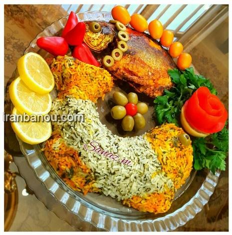 انواع تزیین سبزی پلو با ماهی شب عید 97 | تزیین ماهی شکم پر ...