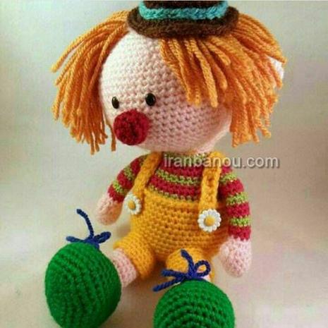 آموزش بافت عروسک دلقک , بافت عروسک دلقک, آموزش بافت عروسک, ساخت عروسک دلقک, عروسک دلقک بافتنی, بافت عروسک, آموزش بافتنی, آموزش قلاب بافی