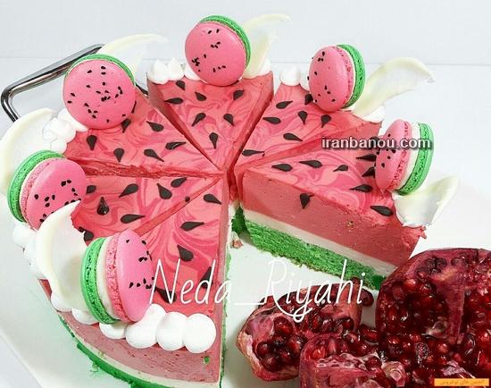 کیک به شکل هندوانه