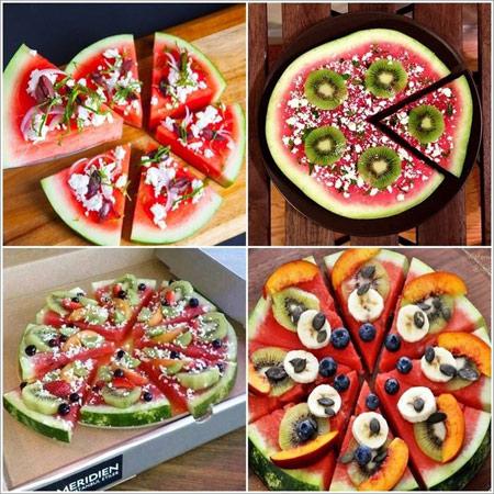 پیتزا به شکل هندوانه,طرز تهیه پیتزا به شکل هندوانه