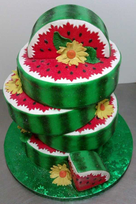 تزیین کیک به شکل هندوانه, تزیین کردن کیک به شکل انار