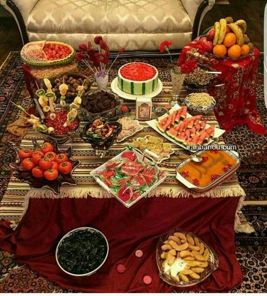 سفره آرایی شب یلدا برای عروس