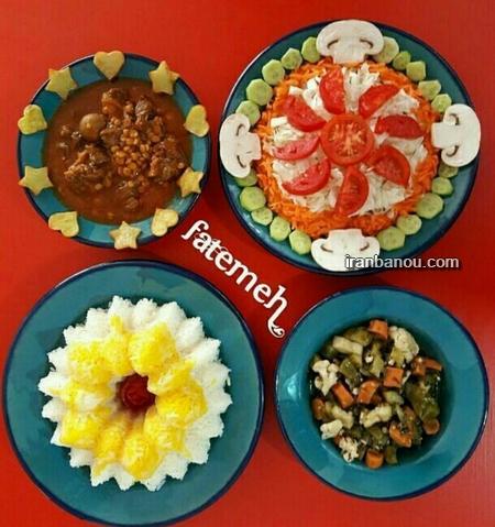 تزیین برنج ساده,تزیین خورشت,تزیین پلو با زعفران,تزیین ته دیگ