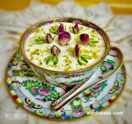 تزیین فرنی با گل محمدی,عکس تزیین شیربرنج