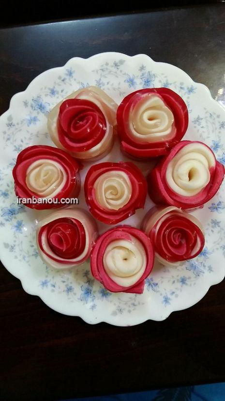 ژله رولی گل رز,ژله رولی به شکل قلب