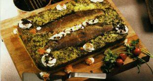 ته چین دو رنگ سبزی پلو با ماهی