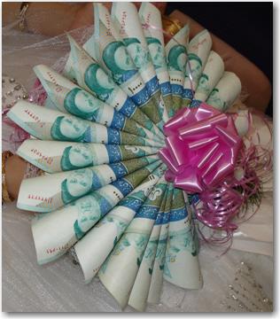 تزیین پول برای شاباش به عروس