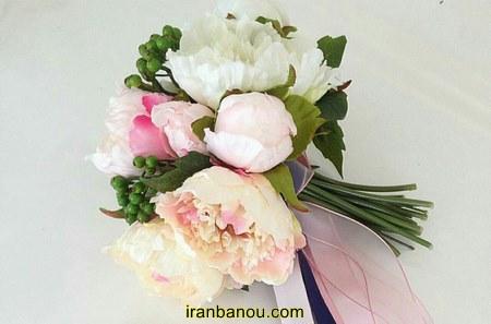 دسته گل عروس رز سفید و قرمز