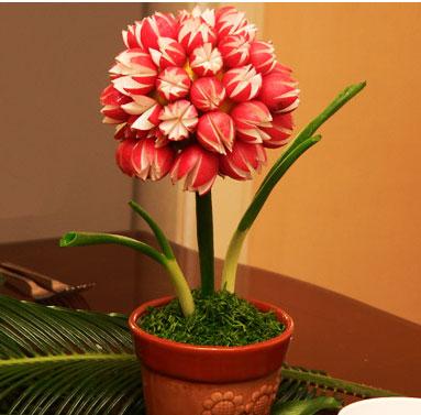 ساخت گلدان با ترب قرمز،گلدان با ترب قرمز،تزیین سبزی،هنر در خانه