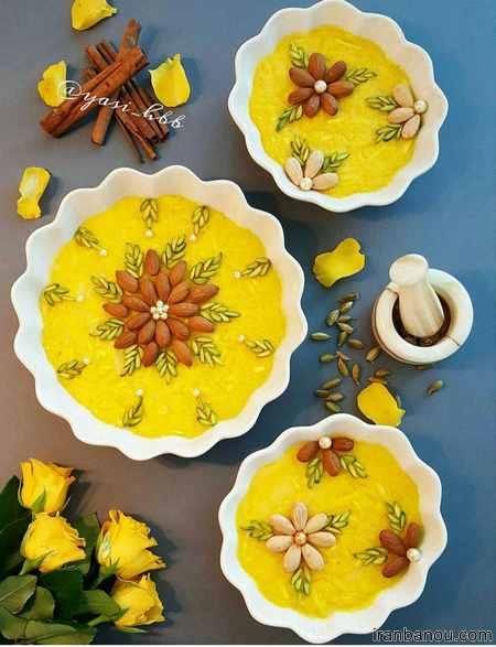 تزیین شله زرد و حلوا