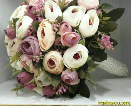 دسته گل عروس با مروارید