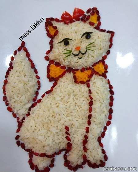 تزیین کتلت با برنج