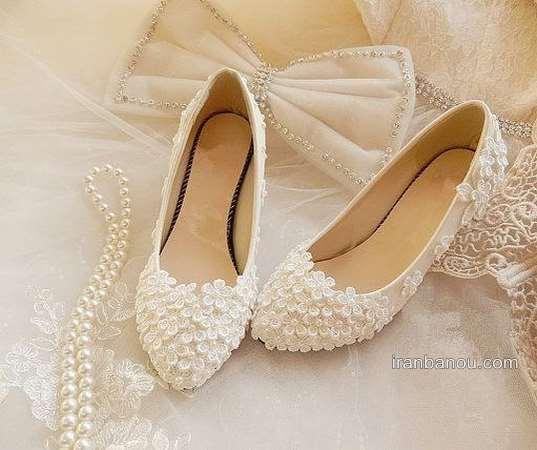 کفش عروس بدون پاشنه و جلو باز