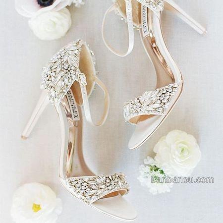 کفش پاشنه بلند عروسی نگین دار