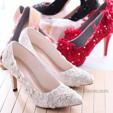 کفش پاشنه کوتاه عروس