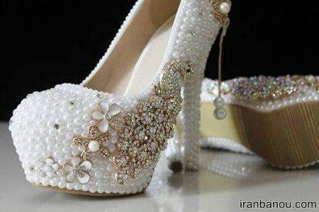 کفش عروس پاشنه پهن