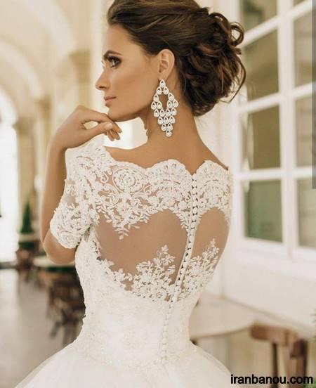 لباس عروس آستین دار گیپور