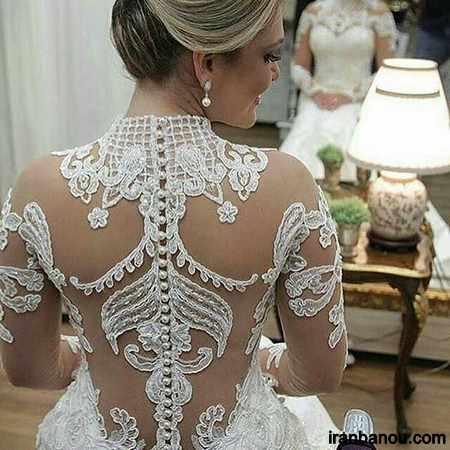 لباس عروس دانتل پف دار