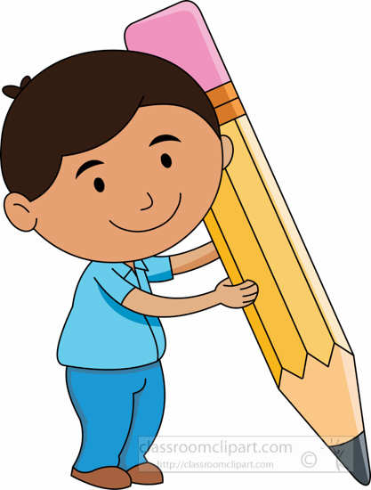 School student character holding big pencil clipart