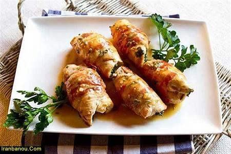 رولت مرغ با گوشت