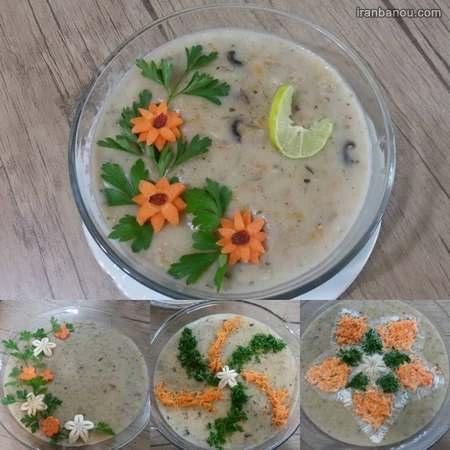 تزیین سوپ با خامه