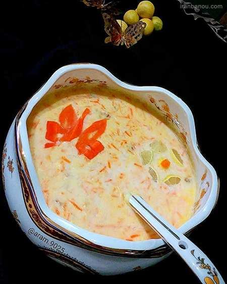 تزیین سوپ شیر با خامه