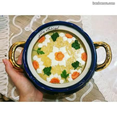 تزیین سوپ رشته و عدس