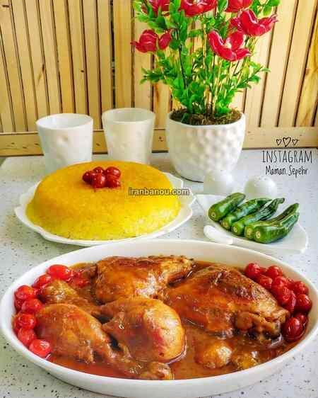 تزیین برنج با رنگ غذا