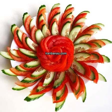 تزیین گوجه و خیار برای سالاد