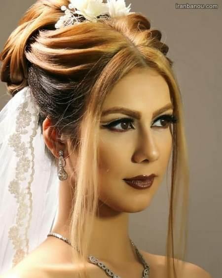 مدل مو عروس با تاج فرحی