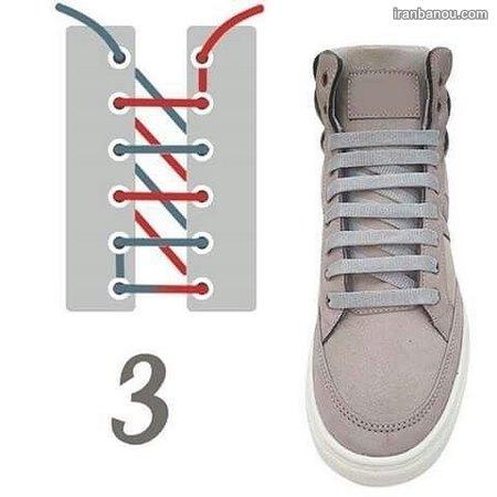 مدل بستن بند کفش 4 سوراخه