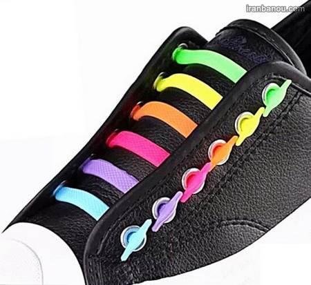 آموزش بستن بند کفش با دو رنگ