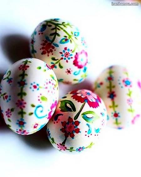 نقاشی زیبا روی تخم مرغ عید