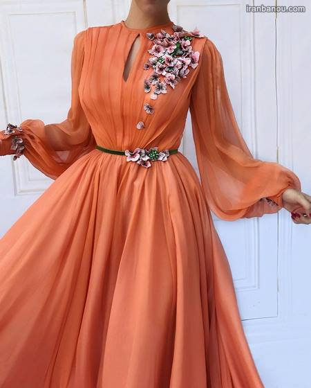 مدل لباس مجلسی دخترانه بلند دنباله دار