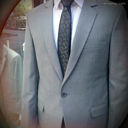 ست کت و شلوار طوسی با کراوات