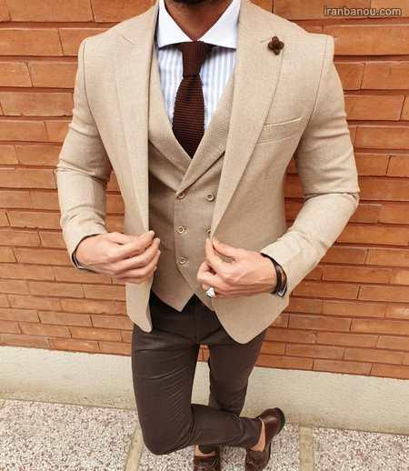 مدل کت و شلوار دامادی رنگ روشن