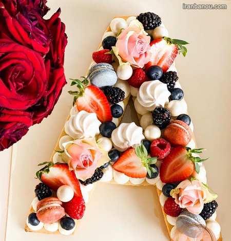 کیک تولد حروف انگلیسی f