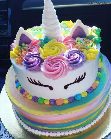 کیک تولد تک شاخ دو طبقه