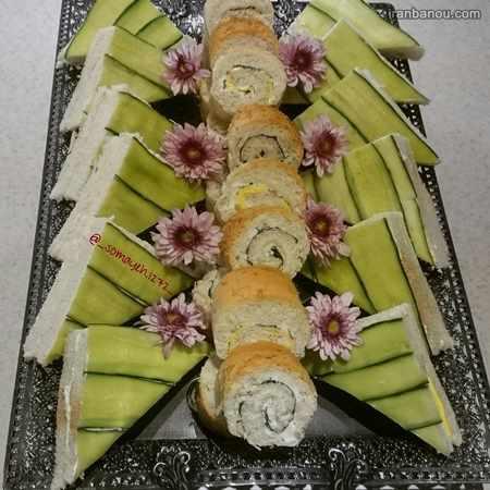 کیک نان و پنیر و سبزی با نان تست