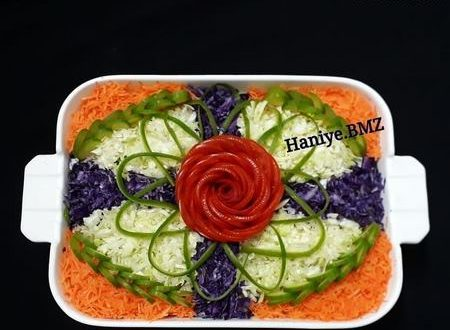 تزیین انواع سالاد فصل کلم و کاهو و شیرازی