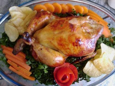 تزیین مرغ شکم پر,تزیین مرغ درسته