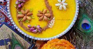 تزيين شله زرد با پودر نارگيل