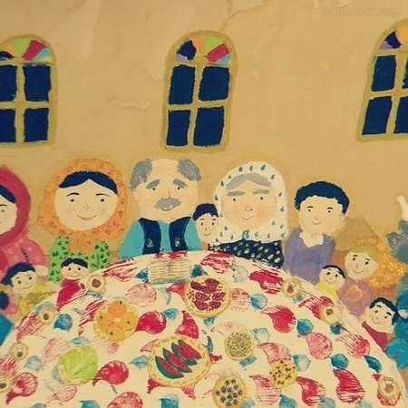 نقاشی شب یلدا برای کودکان پیش دبستانی