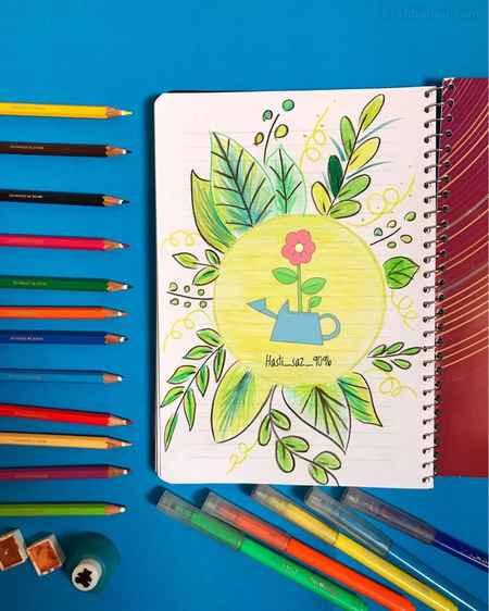 نقاشی گل برای حاشیه دفتر کودکان