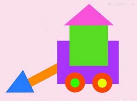 نقاشی با اشکال هندسی مثلث و مربع