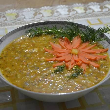 تزیین سوپ با سس مایونز