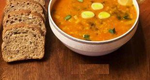 تزیین سوپ جو با شیر