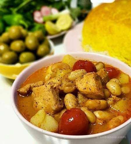 طرز تهیه خوراک لوبیا چیتی دو نفره